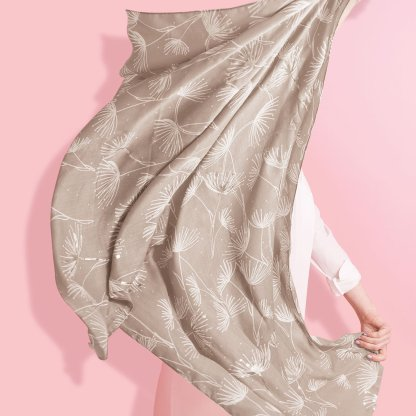 Katie Loxton Metallic Scarf – Dandelion Print, Natural