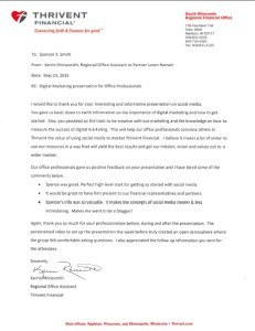 Spencer X Smith Recommendation Letter from Thrivent Financial