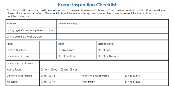 homeowners inspection checklist