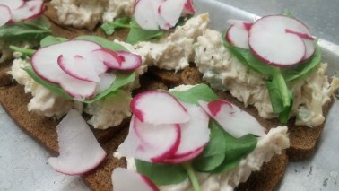 Chicken Salad with Radish Tea Sandwiches
