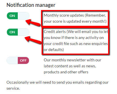 Credit Score Notifications