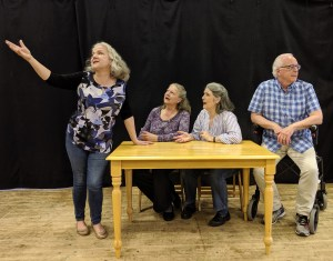 Rehearsal for the new musical Spend Your Kids' Inheritance - Charlotte Moore (Nelly), Jillian Rees-Brown (Alice), Denise Norman (Claire), Rick Jones (Hal)