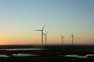 Sun down and windmills
