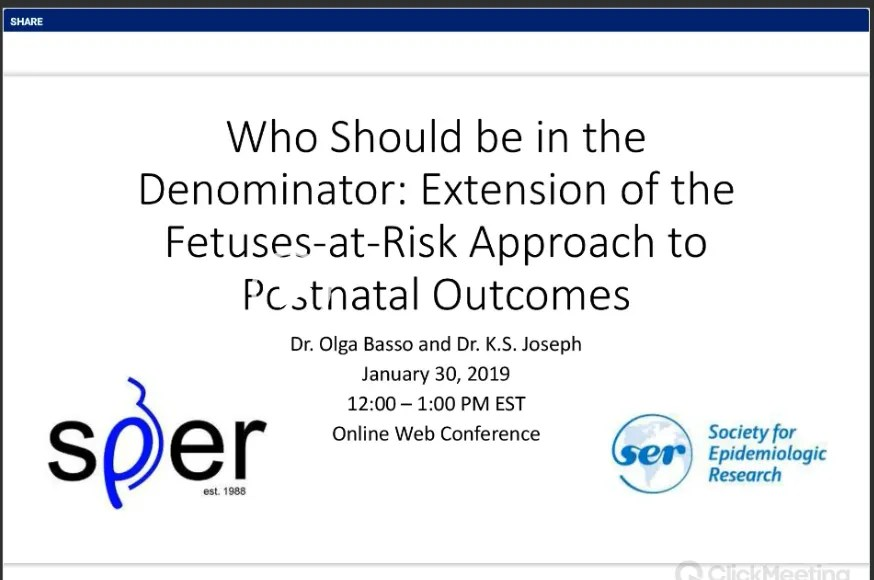 """SER-SPER Collaboration - """"Who should be in the denominator: extension of the fetuses at risk approach to postnatal outcomes"""""""