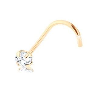 Briliantový piercing do nosa zo žltého 9K zlata
