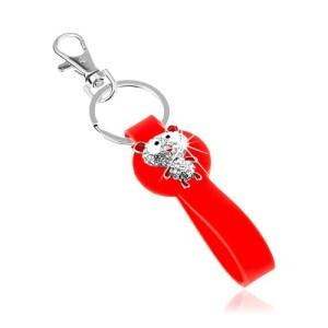 Kľúčenka so silikónovým príveskom červenej farby