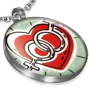 Kruhový prívesok z ocele - srdce so symbolmi muža a ženy