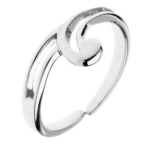 Strieborný prsteň 925 - výbežok v tvare vlnky