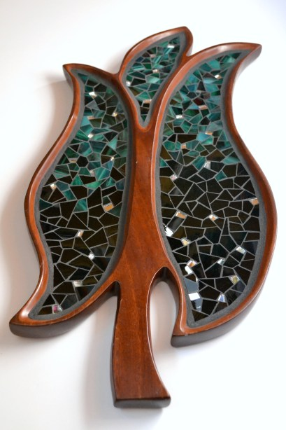 stained glass mosaic on wood leaf plate