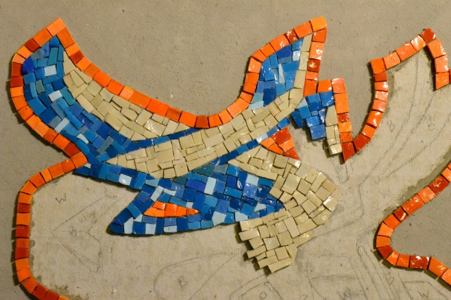 graffiti-inspired smalti mosaic - work in progress
