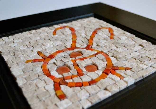 """Doodle bug"" (2013) - Mexican smalti, marble, and vitragota on a repurposed cabinet face"