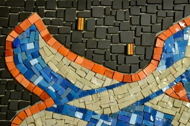 graffiti mosaic in smalti and unglazed porcelain - work in progress