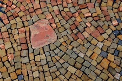 close up of sandstone mosaic