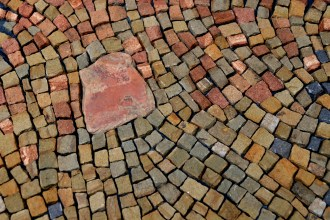 close up of sandstone mosaic