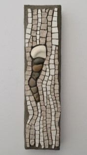 Marble, ceramic tile, tumbled stone, and sea pottery mosaic by Julie Sperling