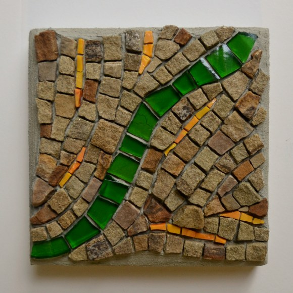 """An acquired taste"" -- stone, smalti, gin bottle, 4.25"" x 4.25"""