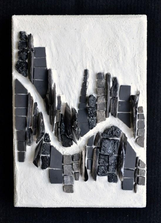 """Metropolis"" (6"" x 4.25""), shale, cinca, stone, flint, coal"