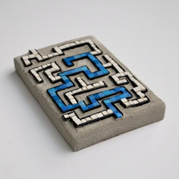 """""""Foiled again"""" (2014) -- 6"""" x 4.25"""", smalti, tile, glass rod"""