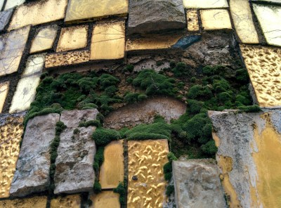 Mosaic sculpture with moss in Philadelphia