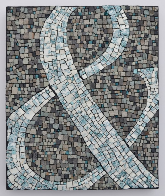 "A special wedding ampersand mosaic for Siti and Fad 12""h x 10""w China, smalti, limestone, Eramosa marble, mudstone, thinset tesserae, typeset letter"