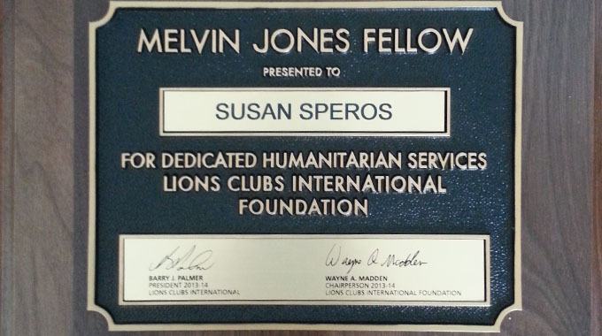 Melvin Jones Fellow Award Susan Speros