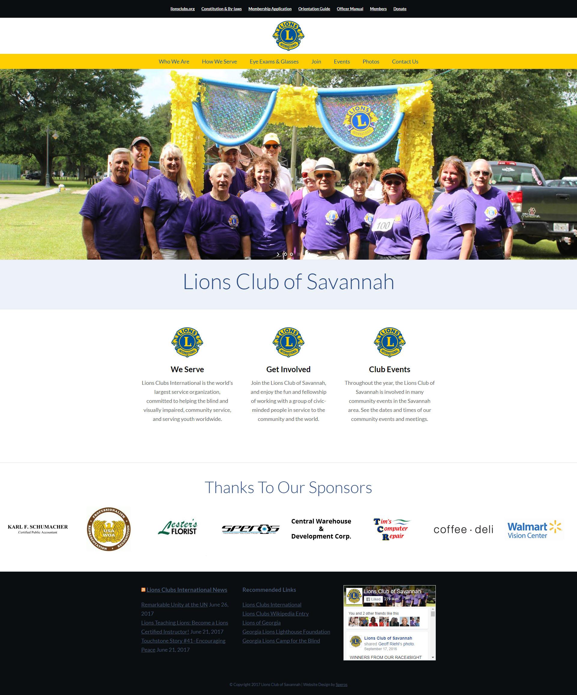 Lions Club of Savannah - Speros Web Design - Savannah