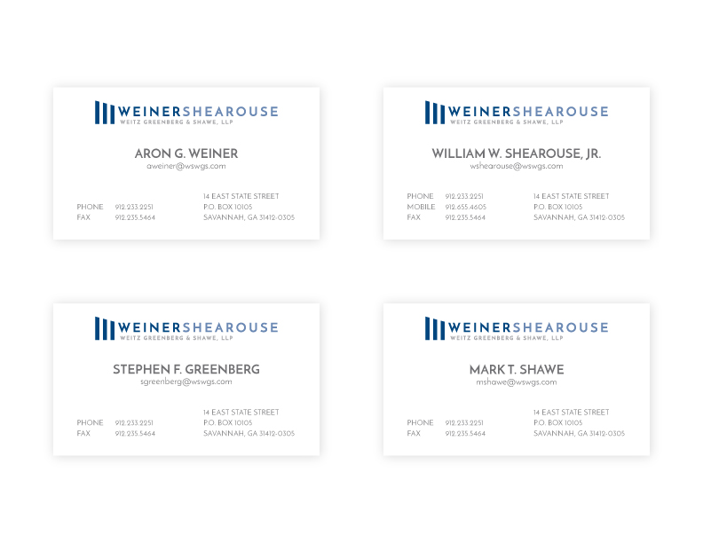 Weiner, Shearouse, Weitz, Greenberg and Shawe Business Card Design