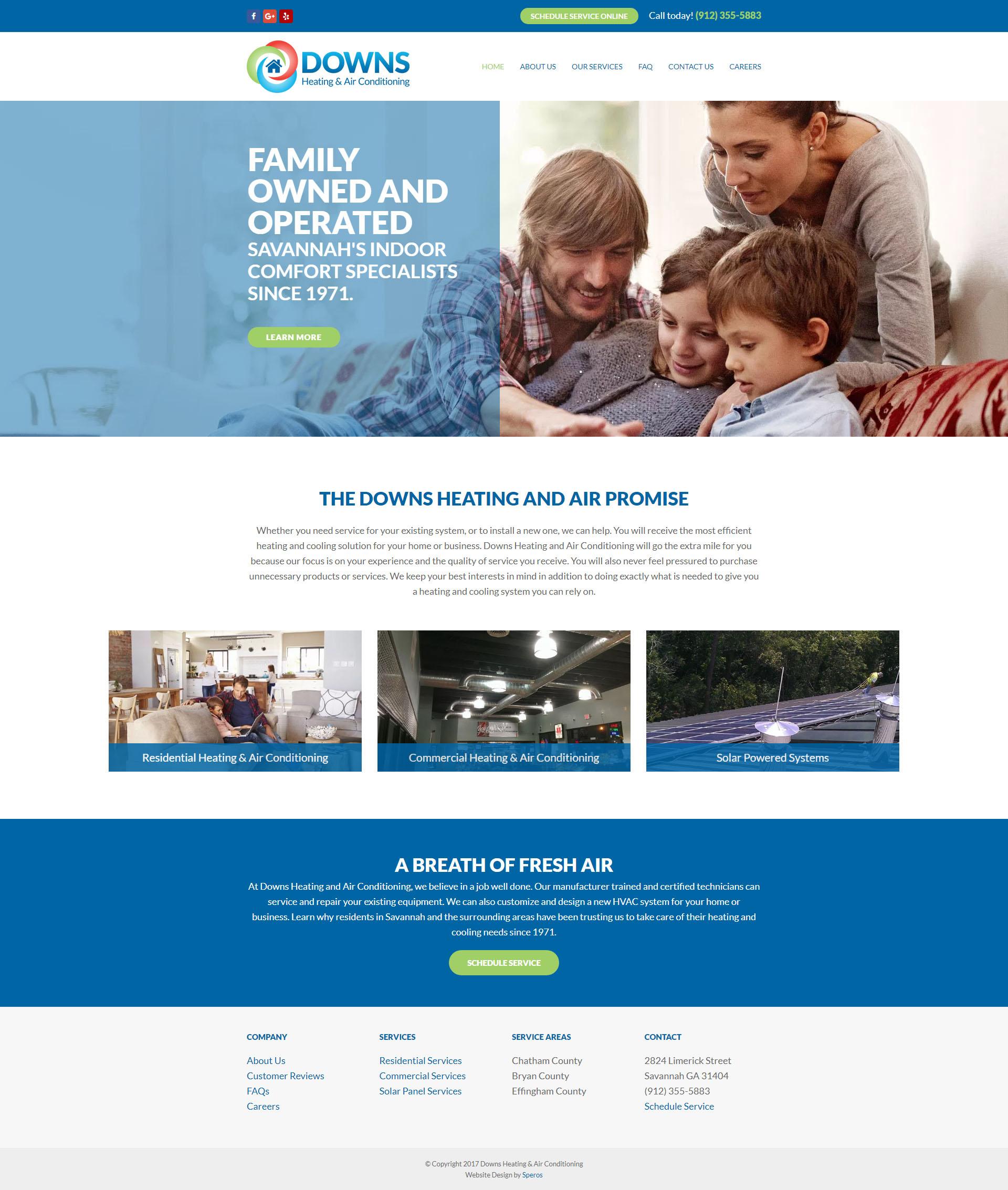 Downs Heating and Air Conditioning - Speros Web Design - Savannah