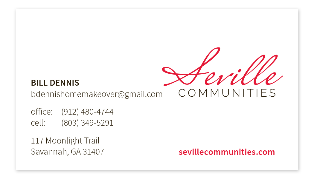 Seville Communities Business Card