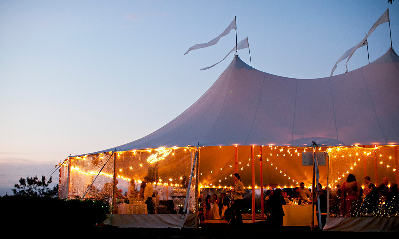 perimeter string lights wedding event