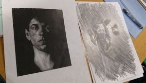 Rona's portrait of Sir Stanley Spencer's self-portrait