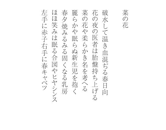 「菜の花」 江渡華子