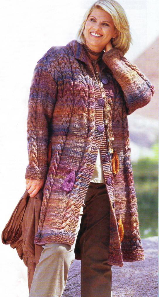 Вязаное меланжевое пальто (Вязание для полных) | Вязание ...