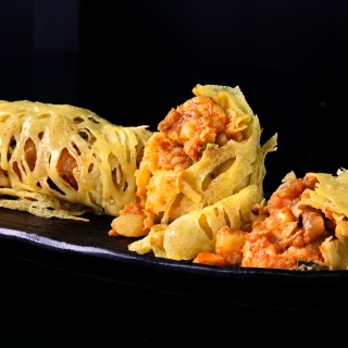 Masala Potatoes in Roti Jala