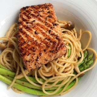 Pasta with Grilled Salmon
