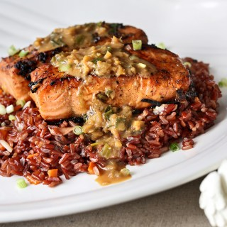 Miso and Ginger Sauce Salmon on Garlic Brown Rice