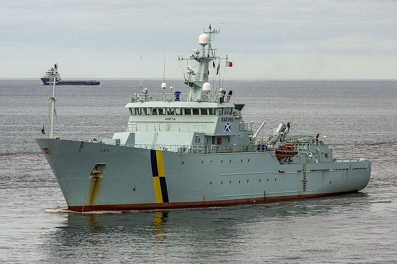 Image showing the marine Scotland fisheries protection vessel the MPV Hirta. The vessel is pictured at sea. The vessel is around 80 metres in length and is painted in grey paint.