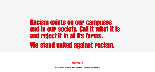 "FE/HE Anti racism declaration reading: ""We stand united against racism"""