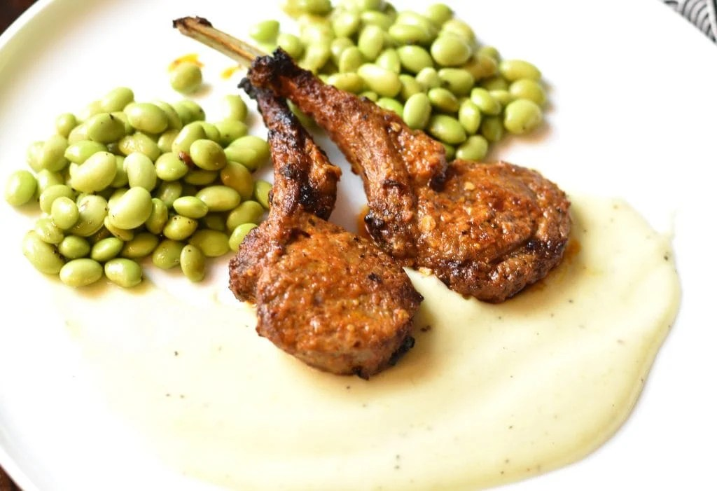 Grilled Lamb-Chops with cauliflower Potato garlic sauce