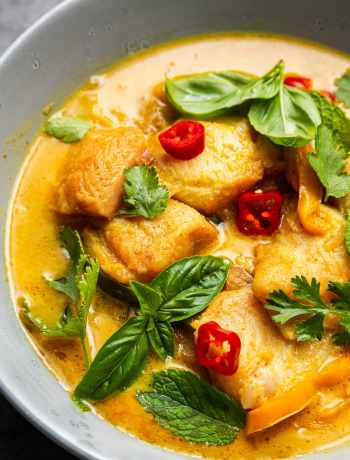Fish Coconut Curry by Spice Cravings is a light fish prepared in a coconut milk broth with aromatics and tons of curry leaves, served over a mountain of steamed white rice. #food #foodie #foodblogger #delicious #recipe #instantpot #recipes #easyrecipe #cuisine #30minutemeal #instagood #foodphotography #tasty #curry #indian