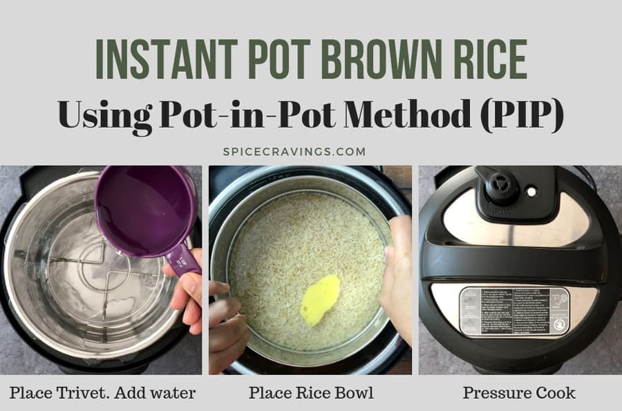 Step by Step recipe for Instant Pot brown rice using the pot in pot (PIP) method