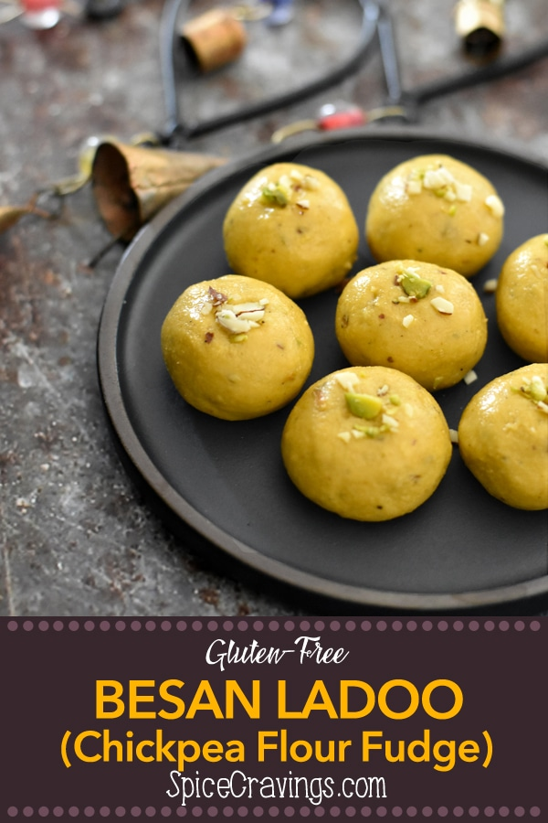 A 30-minute microwave recipe for Besan Ladoo, a popular Indian sweet made by roasting besan (chickpea flour) with ghee, flavored with sugar & cardamom, and rolled into spherical little fudge balls, called Ladoo (or Laddu). #spicecravings #desserts #indian #sweet #ladoo #dessert #glutenfree #vegan #vegetarian #glutenfreedesserts #delicious #yum #tasty #india #wprecipemaker #vegandesserts