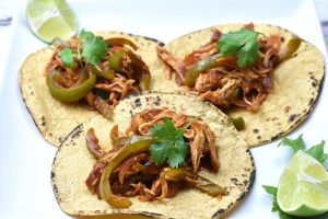 Pulled Chicken Fajita Tacos, pressure cooker chicken in Mexican spices and store-bought salsa by Spice Cravings. If there was ever a contest for the EASIEST CHICKEN TACO RECIPE EVER, this recipe for 3-ingredient Instant Pot Salsa Chicken would win hands down! The only prep I do is open a packet of chicken, taco Seasoning and a jar of Salsa. I pressure cook the chicken, shred it and load it on to soft warm corn tortillas! #food #foodie #foodblogger #delicious #recipe #instantpot #recipes #easyrecipe #cuisine #30minutemeal #instagood #foodphotography #tasty