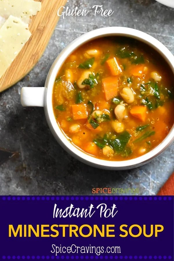 Instant Pot Minestrone Soup Recipe! This hearty Italian soup is a delicious blend of vegetables, herbs and beans simmered in a tomato broth. I add quinoa to this soup to boost the protein and make it gluten-free. #spicecravings #soups #soup #instantpot #instantpotrecipes #wprecipemaker #vegetarian #glutenfree #healthy #food #foodie #foodblogger #delicious #recipe #recipes #easyrecipe #italian #instagood #foodphotography #tasty
