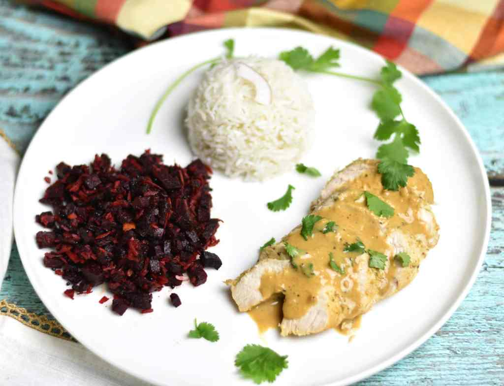 Coconut Lime Chicken and Rice with a side of coconut beets stir-fry.