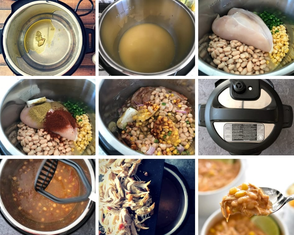 Step by step process of making white chicken chili in Instant Pot