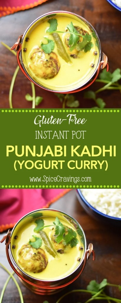 Punjabi Kadhi Chawal (Yogurt Curry with Rice) in instant pot by Spice Cravings. A delicious yogurt and chickpeas-flour based curry, called Kadhi, and chickpeas-flour fritters, called Pakoras, served over aromatic basmati rice! #food #foodie #foodblogger #delicious #recipe #instantpot #recipes #easyrecipe #cuisine #30minutemeal #instagood #foodphotography #tasty #curry #indian