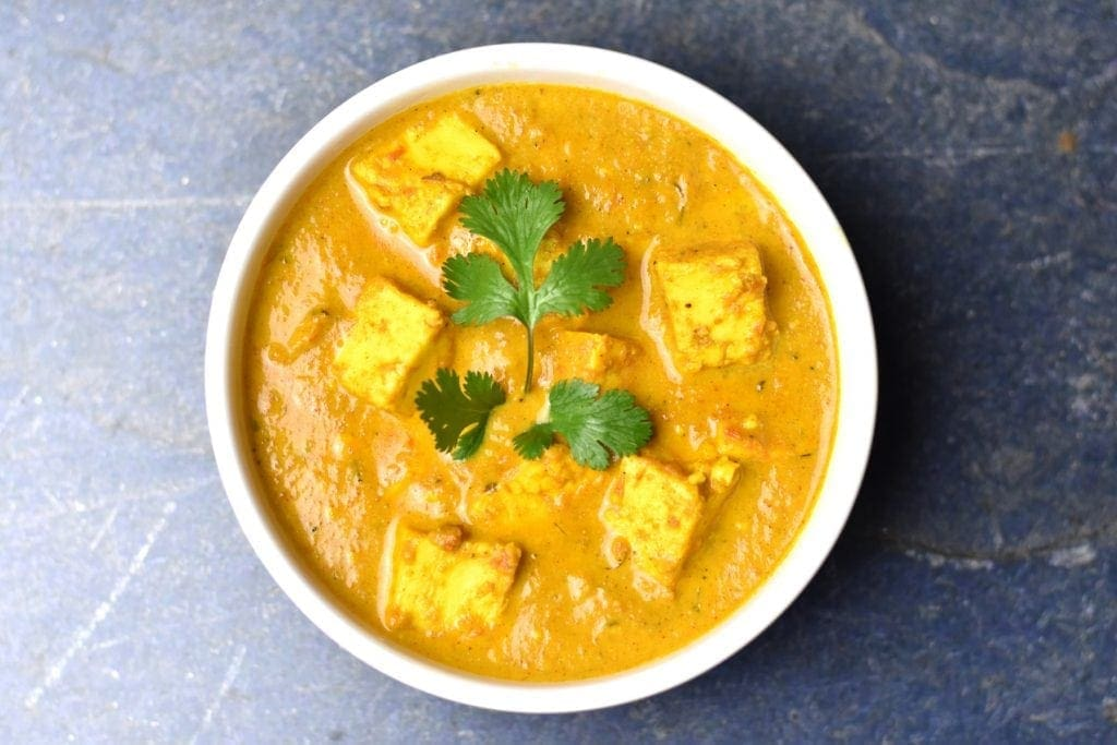 A bowl of paneer butter masala, also known as, paneer Makhani, made in the Instant Pot pressure cooker.