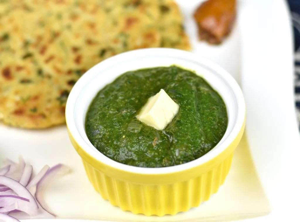 A single serving of Instant Pot Saag (sarson ka saag)
