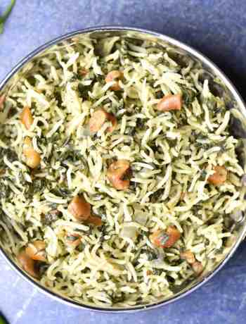 Spinach rice, palak pulao, instant pot spinach pilaf